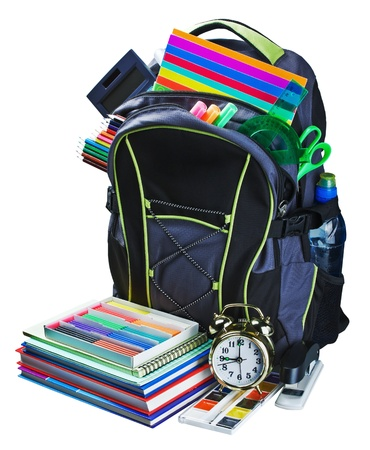 backpack for school stationery learning isolated on white background photo