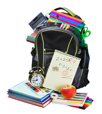Backpack full of school supplies on white background photo