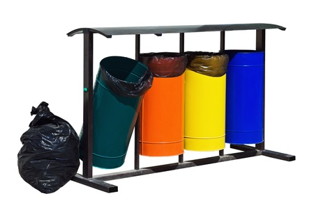 metal trash containers for separate collection of waste photo