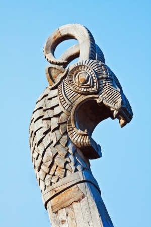 head of a dragon on the front of the Viking ship photo