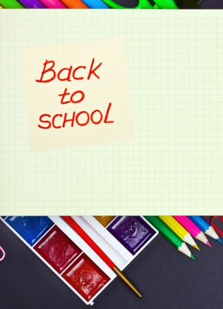 sticker with the words back to school on accessories photo