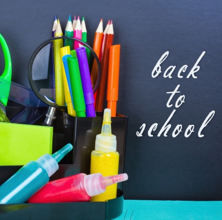 pizarra, volver a la escuela y los suministros para la escuela photo