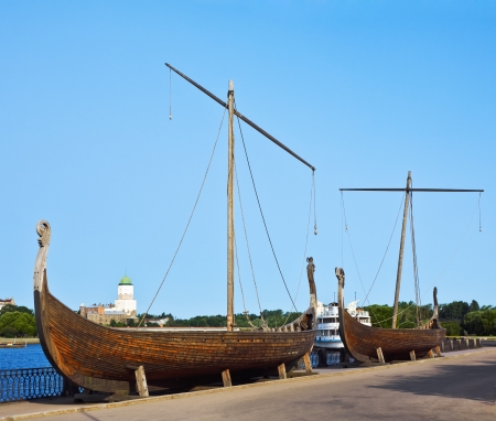 viking ship: Drakkar on the waterfront in Vyborg, Russia Stock Photo