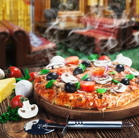 europe closeup: baked pizza with mushrooms and cheese
