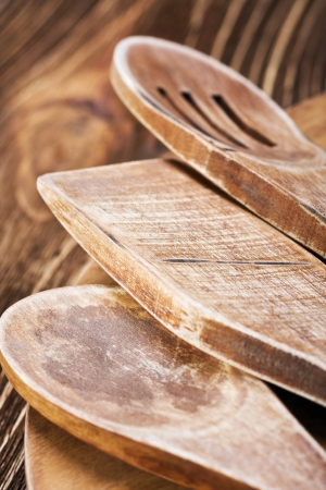 Wooden kitchen utensils. Focus on the middle of the frame, shallow depth of field photo