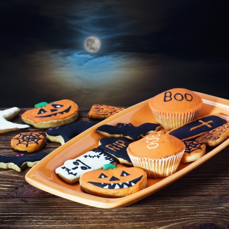 homemade cookies for the holiday Halloween night sky photo