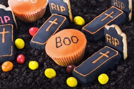 Homemade Halloween cookies and a selection of sweets for the holiday photo