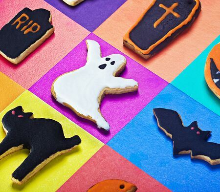 Halloween cookies on a colored background photo