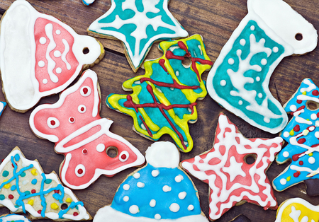 Christmas gingerbread cookies on the table photo