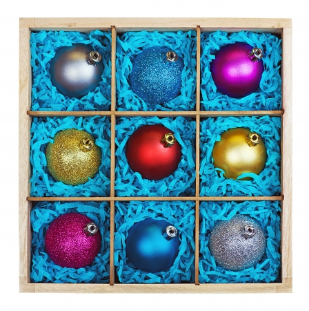 Christmas-tree balls in a wooden box on a white background  photo