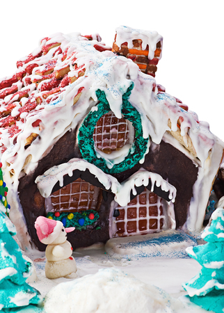 gingerbread house and scenery for a Merry Christmas photo
