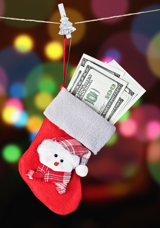Christmas Stocking Stuffed with Money photo