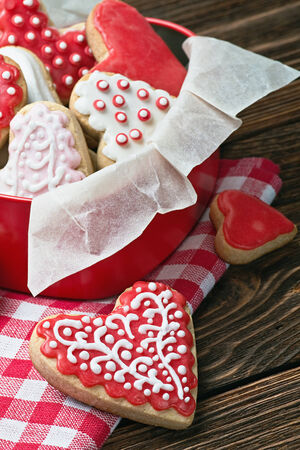 cookies in a box in the form of baked hearts for Valentine's day photo
