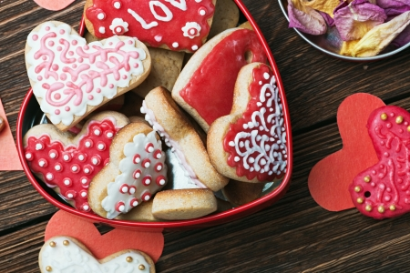cookies in a box in the form of baked hearts for Valentines day photo