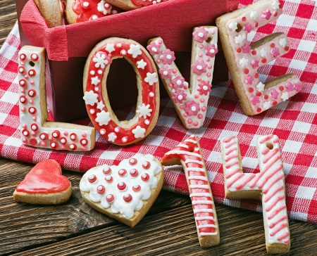 baked cookies with the word love and the numbers 14 Valentines Day photo