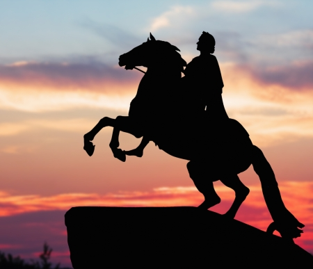 peter the great: Monument of Peter Great, silhouette against the sunset. St. Petersburg, Russia