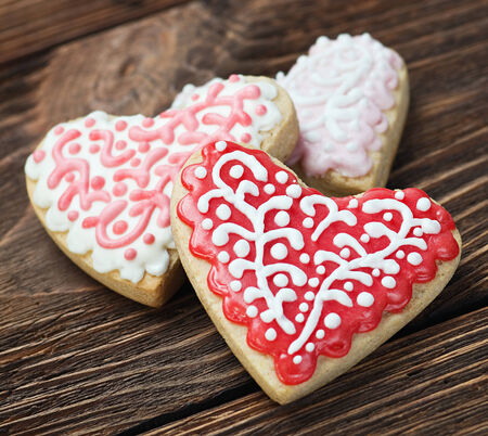 Heart shaped cookies baked Valentines Day on the table photo