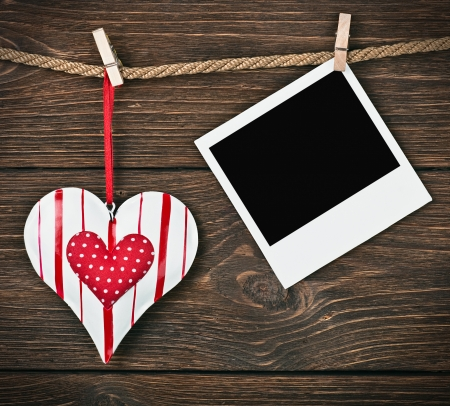 Photo Frame met hart en plaats voor felicitaties Valentine (verjaardag, huwelijk, etc.)