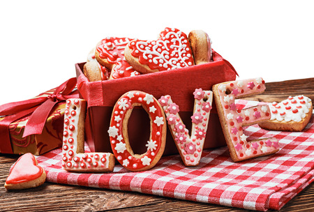 baked cookies with the word love and the Valentines Day photo