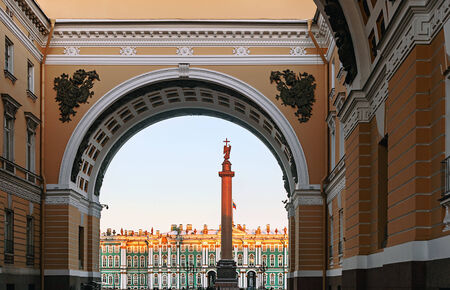 Winter Palace view through Senate Arch at dawn, St Petersburg, Russia