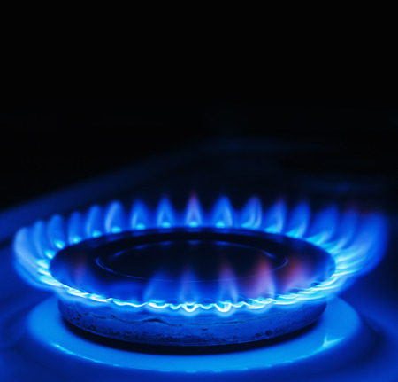 Blue flames of gas burning from a kitchen gas stove. Focus the front edge of the hotplate photo