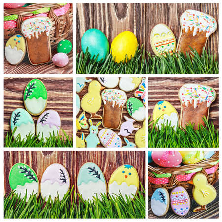 Set of Easter homemade gingerbread cookie    photo