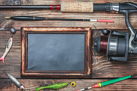 blackboard with the word fishing, and other accessories Stock Photo - 26742685
