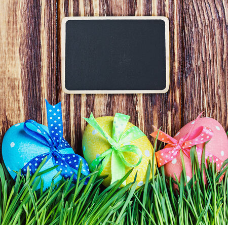 blackboard for the text and Easter egg photo