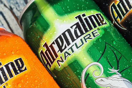 adrenaline rush: Moscow, Russia - March 18, 2014: various energy drinks adrenaline rush. Own brand Adrenaline Rush is a company PepsiCo (PepsiCo). PepsiCo - the second-largest producer of food and beverages.