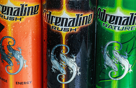 adrenaline rush: Moscow, Russia - March 18, 2014: various energy drinks adrenaline rush. Own brand Adrenaline Rush (Adrenalin Rush) is a company PepsiCo (PepsiCo). PepsiCo - the second-largest producer of food and beverages.