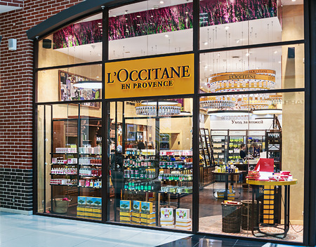 bodywash: Moscow, Russia - March 23, 2014: LOccitane store in the mall Metropolis. LOccitane is a French cosmetics retailer, it was founded in 1976 and has shops in 90 countries all over the world.