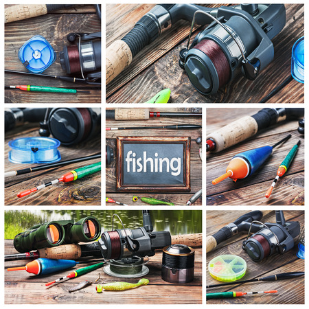 Set of images of fishing and accessories