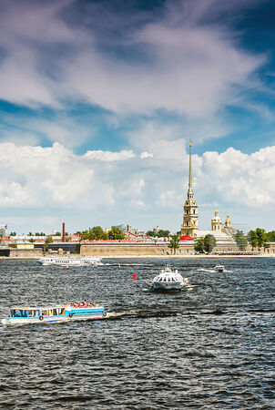 Peter and Paul Fortress, St. Petersburg, Russia. Focus on the cathedral photo