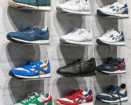 headquartered: RUSSIA, MOSCOW - MARCH 10, 2014: Reebok Sports shop in Moscow. Reebok International company manufacturing sportswear and accessories. Headquartered in the Boston suburb of Canton (Massachusetts). Editorial