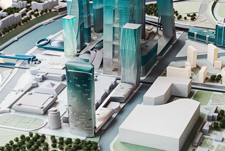 involves: Moscow, Russia - April 13, 2014: Conceptual layout of the shopping and business center Moscow City. Unique project involves the construction of more than 4.5 million sq.m. office and hotel space.