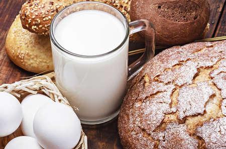 bread, milk, flour and eggs all baking homemade bread photo