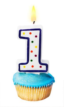 viering van het eerste jaar, hetzij voor een verjaardag geà ¯ soleerd op wit