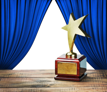 holiday movies: star award and blue curtains with space for text on white background