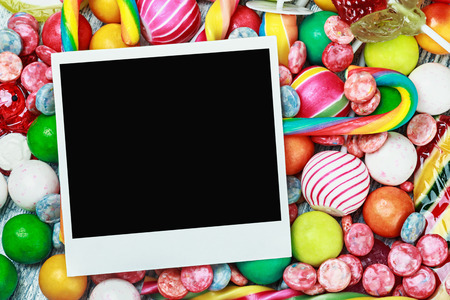 Frame for sweets, candies and chewing gum. photo