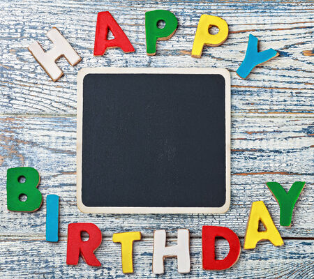 black board for writing congratulations letters of cookies photo