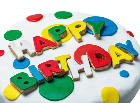 happy birthday congratulations from cookies isolated on white background photo