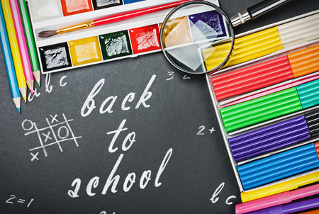 tools for education to the schoolboard with text back to school photo