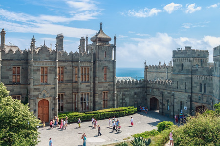 voroncov: Alupka, Crimea - June 13, 2014: Count Vorontsov Palace in Alupka. The palace was built from 1828 to 1848 as the summer residence of a prominent Russian statesman Count Mikhail Vorontsov.