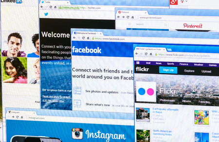 screenshot: Moscow, Russia - August 26, 2014: Photo of Pinterest, Twitter, Facebook, Google+, Linkedin, Flickr and Instagram homepage on a monitor screen. This is the most popular social network in the world. Editorial
