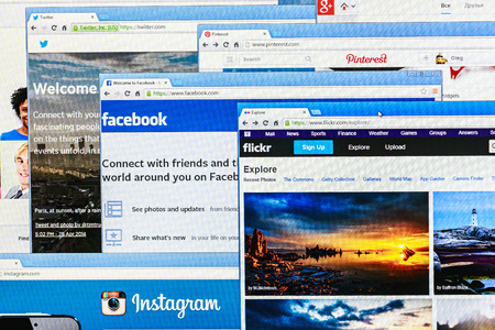 flickr: Moscow, Russia - August 26, 2014: Photo of Pinterest, Twitter, Facebook, Google+, Linkedin, Flickr and Instagram homepage on a monitor screen. This is the most popular social network in the world. Editorial
