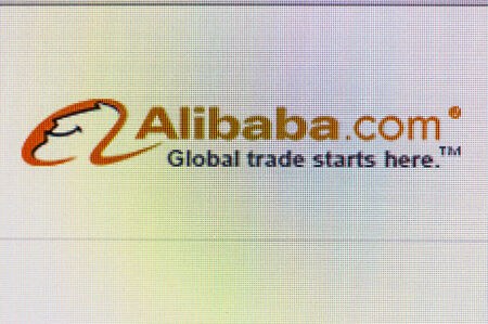 alibaba: Moscow, Russia - September 24, 2014: Close-up open company logo Alibaba on a home computer screen. Alibaba Group Chinese public company operating in the field of e-commerce, the owner of B2B web portal Alibaba.com  Editorial