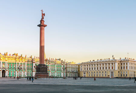 Palace Square and the Alexander Column of St. Petersburg. Russia, winter, dawn. photo