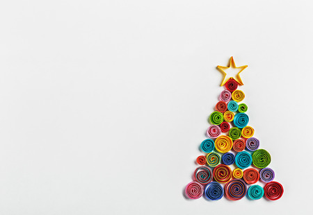Christmas tree made of paper made by Quilling photo