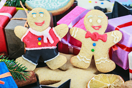 Christmas gingerbread cookies on the wooden table photo