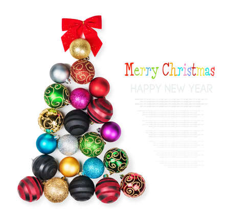 Christmas Tree of the colored balls on a white background photo